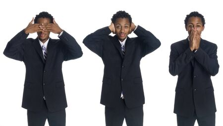A series of a businessman in the See No Evil, Hear No Evil, Speak No Evil poses. Stock Photo - 8053200