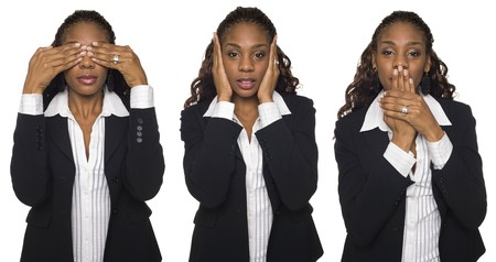 dgf15: Isolated studio shot of a businesswoman in the See No Evil, Hear No Evil, Speak No Evil poses.