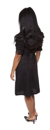 facing away: Isolated full length studio shot of the front view of a Latina woman in a dress facing away (part of a 360 rotational series)