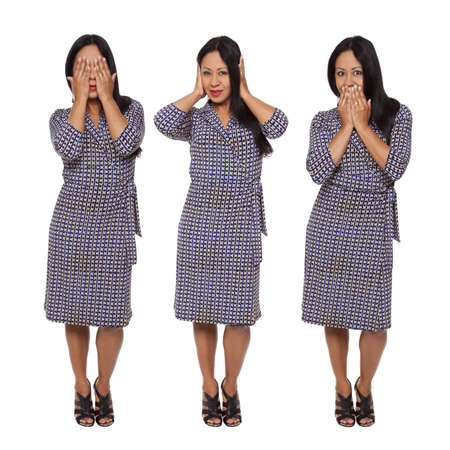 Isolated full length studio shot of a Latina woman in the See No Evil, Hear No Evil, Speak No Evil poses. Stock Photo - 8081966