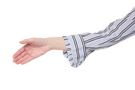 Closeup isolated studio shot of a womans outstretched hand, reaching to shake hands Stock Photo - 8051045