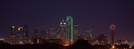 dallas: A view of the Dallas Skyline from the West at dusk, just after sunset.