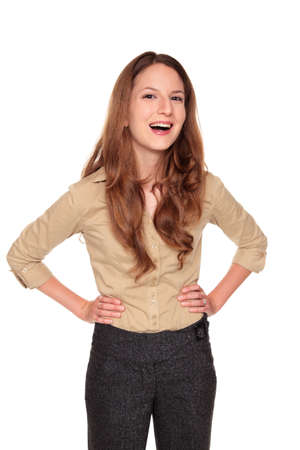 Isolated studio shot of a Caucasian businesswoman looking at the camera with a beautiful smile and a laugh Stock Photo