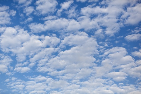 Blue sky background with fulffy flat clouds