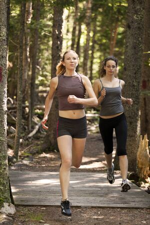 Two women out for a run down a wooded trail. Stok Fotoğraf - 11620993