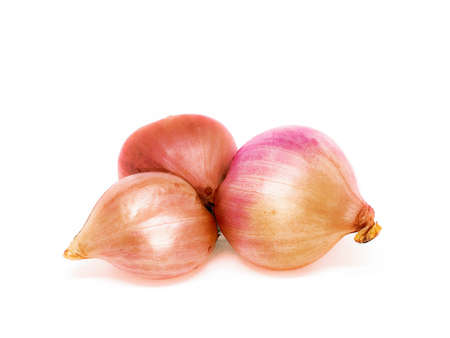 Red onion on white background.