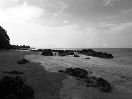 KRABI, THAILAND - MARCH 24, 2018: The beach at Kho Jum on March 24, 2018 in Krabi, Thailand.Black and white tone. Reklamní fotografie