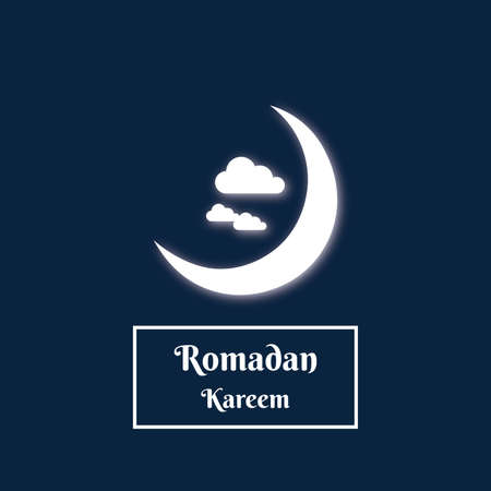 Crescent moonlight and cloud of Romadan kareem in the night themes, vector template.