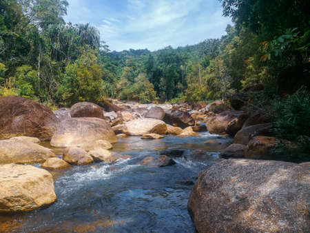 Beautiful stream and waterfall stone in deep forest at Manora Waterfall , Phatthalung, Thailand.