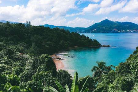 Landscape beautiful sea view of coast at Laem Sing Beach, Phuket, Thailand.