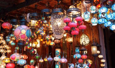 Traditional vintage Turkish lamps over light background