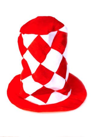 big red hat with rhombus on white background Stock Photo - 17060904