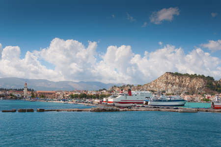 view of the town and port of Zakynthos, Greece. photo