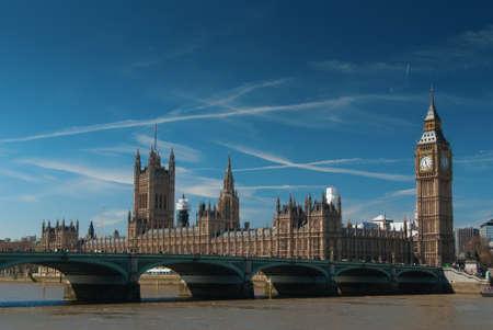 Houses of Parliament and Big Ben and bridge, London UK photo