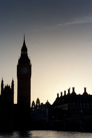 Houses of Parliament and Big Ben at sunset, London UK photo