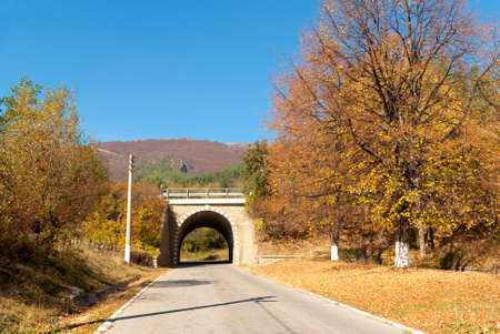 Road, tunnel and autumn landscape photo