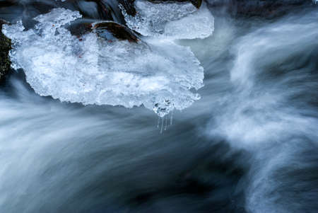 fluent: Fluent water, icicles and stones in mountain river
