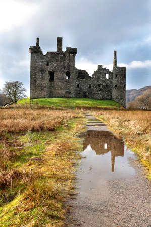 Ruins of old medieval castle in Scotland photo