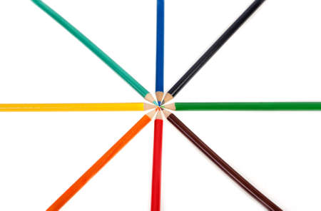 mutually: Eight colourful pencils ordered symmetrically