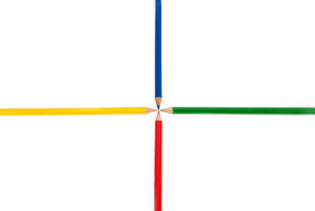 mutually: Red, yellow, blue and green pencils ordered mutually perpendicular