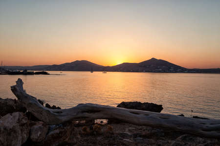 Sunset in Naussa, Paros, Greece photo