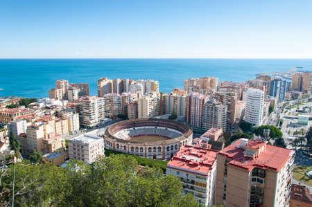 bull rings: Panorama of Malaga cityscape, Costa del Sol, Spain Stock Photo
