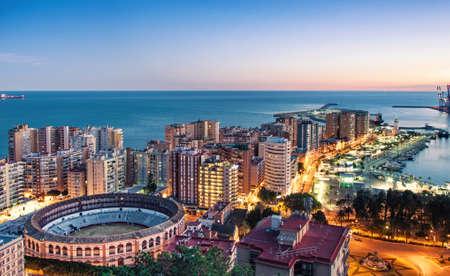Panorama of Malaga cityscape, Costa del Sol, Spain Imagens
