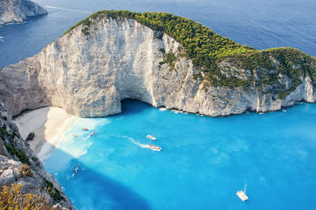 The amazing Navagio beach in Zante, Greece,  with the famous wrecked ship Imagens