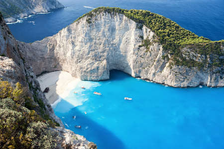 wrecked: The amazing Navagio beach in Zante, Greece,  with the famous wrecked ship Stock Photo
