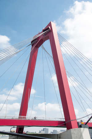 maas: View of Willemsbrug Bridge in Rotterdam on the Maas River Holland on MAY 10 2015 Stock Photo
