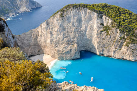 wrecked: The amazing Navagio beach in Zante Greece with the famous wrecked ship
