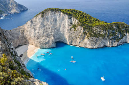 turquoise water: The amazing Navagio beach in Zante Greece with the famous wrecked ship
