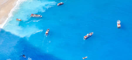 greece: The amazing Navagio beach in Zante Greece with the famous wrecked ship