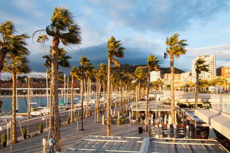 coastal city: Photo of Coastal city of Malaga, Costa del Sol, Andalucia, Spain at sunset