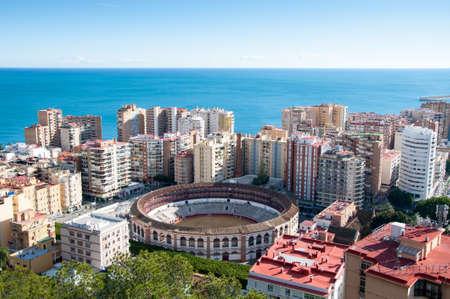 bull rings: Panorama of Malaga cityscape, Costa del Sol, Spain Editorial