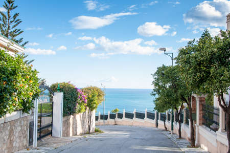 neighbourhood: Photo of View of a neighbourhood close to the sea in Malaga, Costa del Sol, Spain Stock Photo