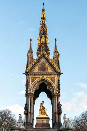 The Albert Memorial, Kensington Gardens, London, England. The Albert memorial was commissioned by Queen Victoria in memory of her beloved husband, Prince Albert