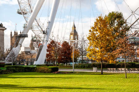 The London Eye Ferris wheel pictured on in London, UK. Built in 1999, 135m tall and with a wheel diameter of 120m, it is the tallest Ferris wheel in Europe Stock Photo