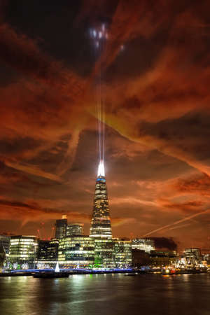 Night landscape view of The Shard in London, England, United Kingdom Editorial