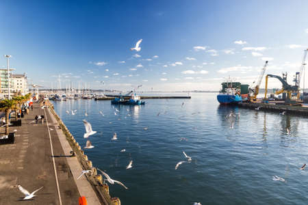 Oct 23th 2014, the view of many tourists at the harbor esplanade of the historic Poole Harbor. Poole, United Kingdom. Poole is a large coastal town and seaport in Dorset.