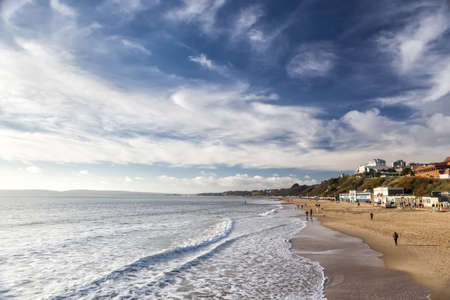 30 Dec.2014. Bournemouth beach southern England UK near to Poole known for beautiful sandy beaches popular tourist location in English south