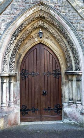Wooden church door Gothic style