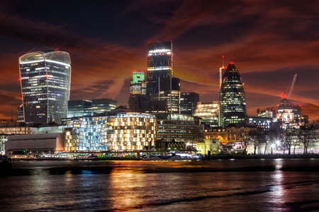 LONDON, UK - JANUARY 2, 2015: Panoramic view City of London at night
