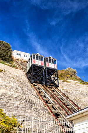 BOURNEMOUTH, UNITED KINGDOM – DECEMBER 23: The West Cliff Lift on December 23, 2014. The West Cliff Lift built in 1908, links the seafront with the Bournemouth International Centre.
