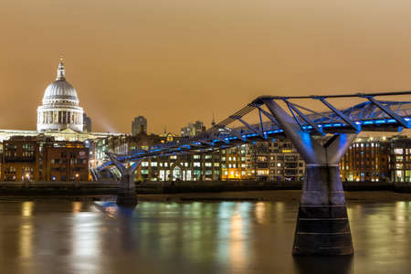 St Pauls Cathedral and Millennium Footbridge over the Thames Stock Photo