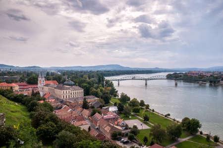 The Mária Valéria bridge joins Esztergom in Hungary and Štúrovo in Slovakia, across the River Danube. Editorial