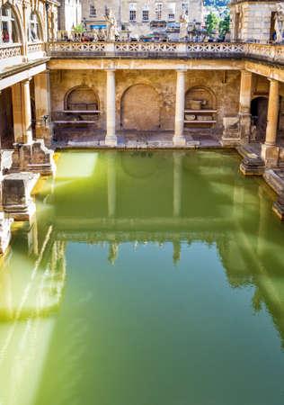The Roman Baths in Bath, England on a bright