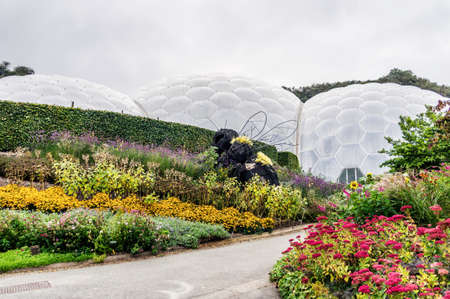 Eden Project, Cornwall, England – September 24, 2016: The worlds largest rainforest in captivity with steamy jungles and waterfalls. Educational centre and demonstrations to inspire all ages. Editorial