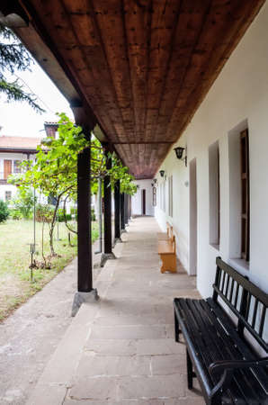 Old corridor with wooden columns