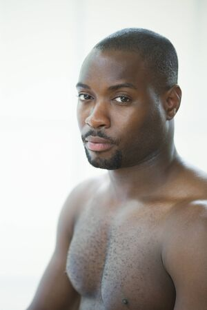 bare chested: A bare chested African Carribean Male Portrait.